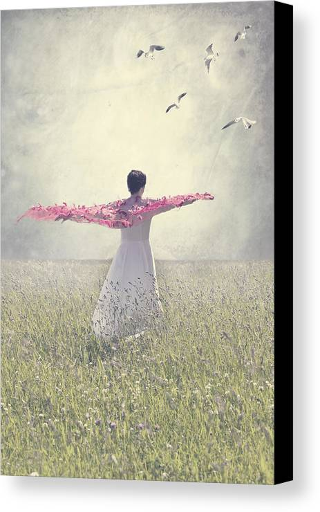 Female Canvas Print featuring the photograph Woman On A Lawn by Joana Kruse