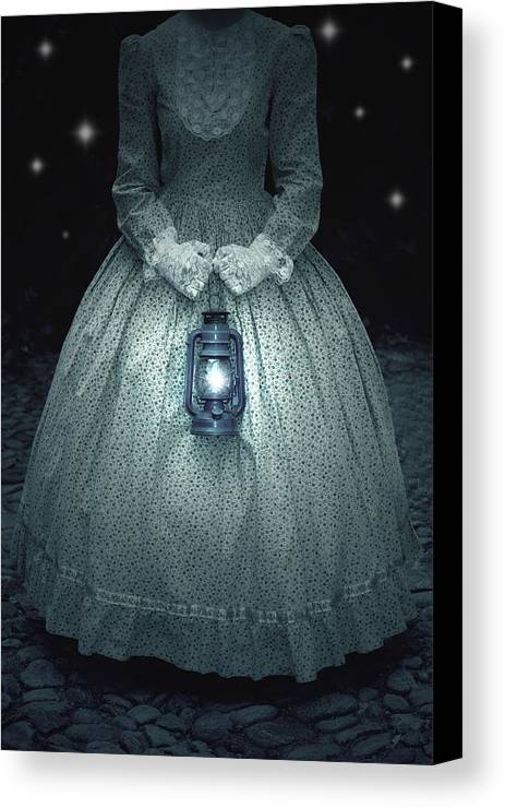 Female Canvas Print featuring the photograph Woman With Lantern by Joana Kruse
