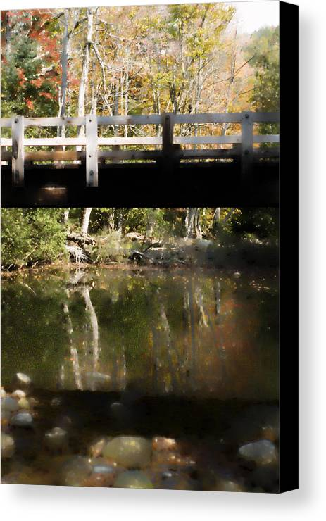 Stream Canvas Print featuring the photograph Wooden Bridge by Rockstar Artworks