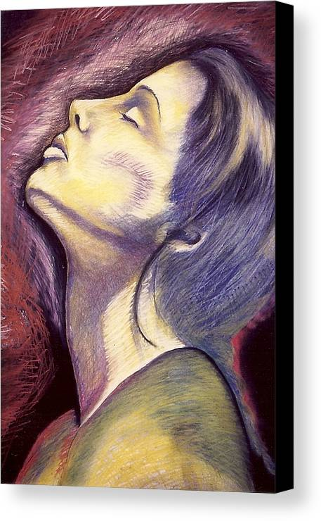 Woman In Silent Worship Canvas Print featuring the drawing Worshiper by Carrie Maurer