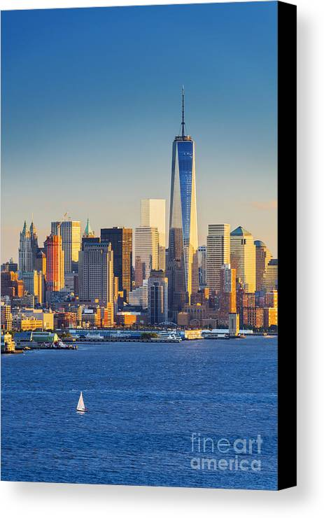 Manhattan Canvas Print featuring the photograph Yachts On The Hudson River, New York by Justin Foulkes
