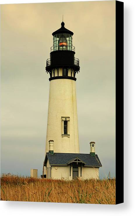 Yaquina Head Lighthouse Canvas Print featuring the photograph Yaquina Head Lighthouse - Newport Or by Christine Till