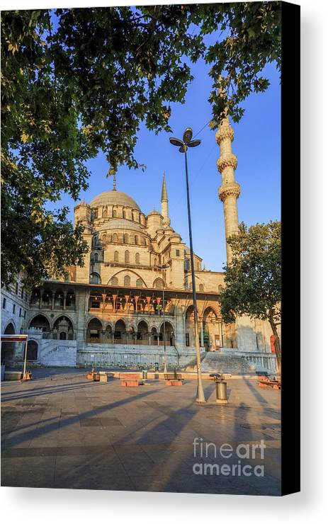 Architectural Canvas Print featuring the photograph Yeni Cami , New Mosque , In The Morning, Istanbul, Turkey. by Mohamed Elkhamisy