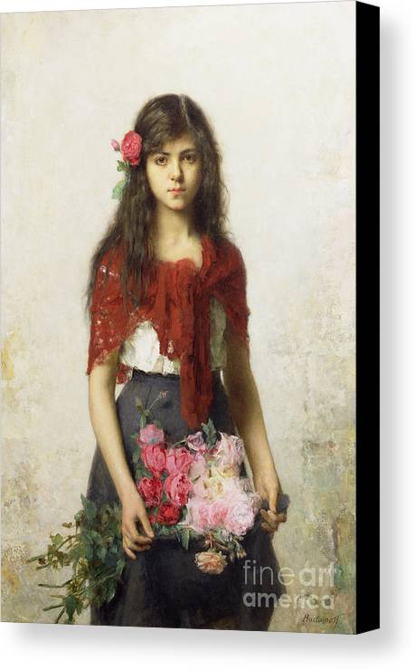 Young Girl With Blossoms Canvas Print featuring the painting Young Girl With Blossoms by Alexei Alexevich Harlamoff