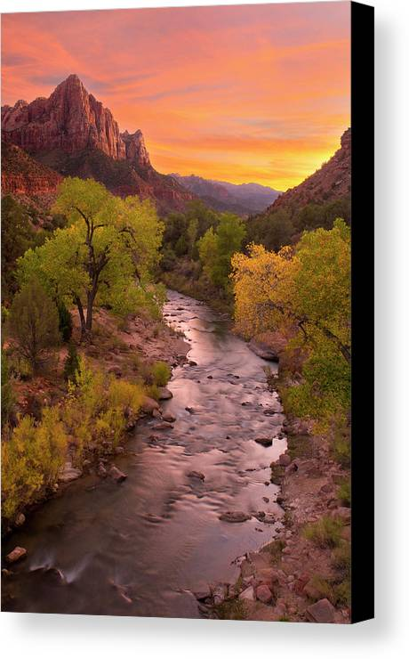 The Watchman Canvas Print featuring the photograph Zion National Park The Watchman by Dean Hueber