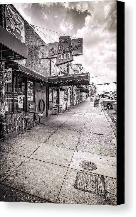 Austin Canvas Print featuring the photograph Continental Club Austin Black And White by Tod and Cynthia Grubbs