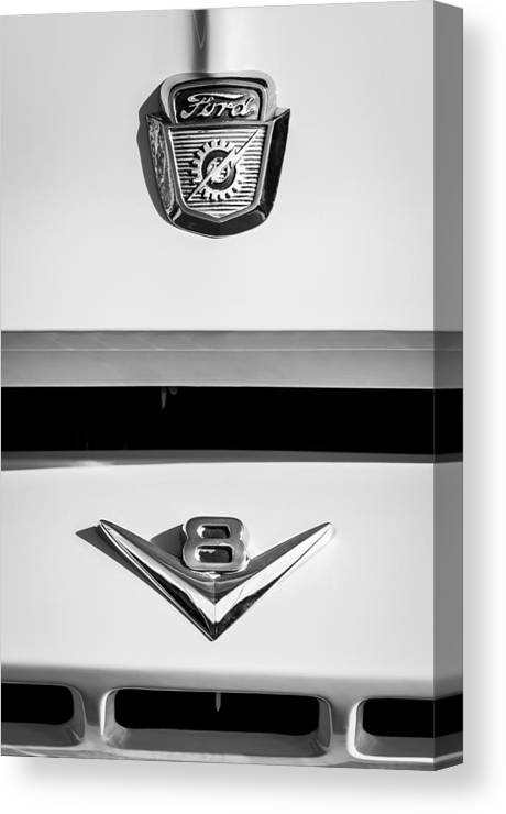 1954 Ford F-100 Custom Pickup Truck Emblems Canvas Print