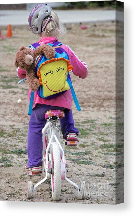 Little Girl And Her Bike Canvas Print featuring the photograph A Child's Adventure by Suzanne Oesterling