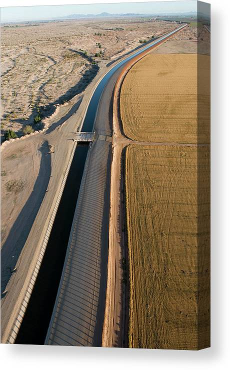 Aerial Canvas Print featuring the photograph Aerial Border Patrol On The U.s.mexico by Peter McBride