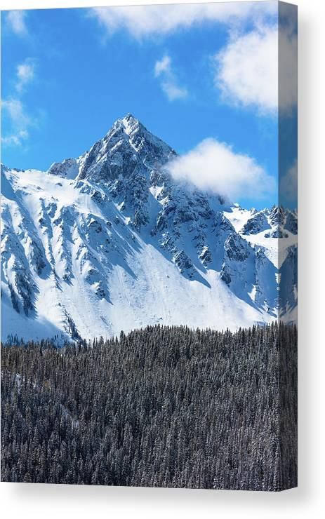 Photography Canvas Print featuring the photograph Aerial Of Mount Sneffels With Snow by Panoramic Images