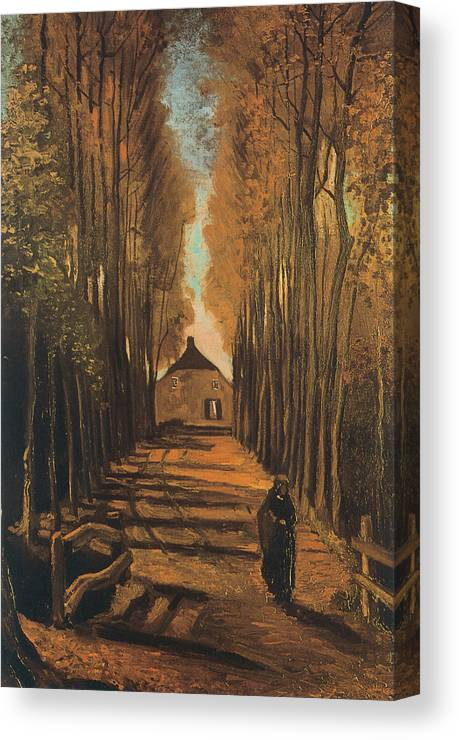 Vincent Van Gogh Canvas Print featuring the painting Avenue Of Poplars In Autumn by Vincent van Gogh