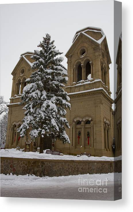 Cathedral Basilica Of St Francis Canvas Print featuring the photograph Cathedral Basilica Of St Francis In Snow by Jason O Watson