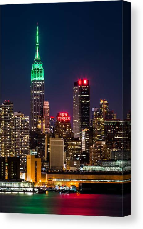 Ireland Canvas Print featuring the photograph Empire State Building On Saint Patrick's Day by Mihai Andritoiu