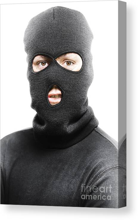 Background Canvas Print featuring the photograph Face Of A Burglar Wearing A  Ski Mask Or Balaclava accebe9ea78b