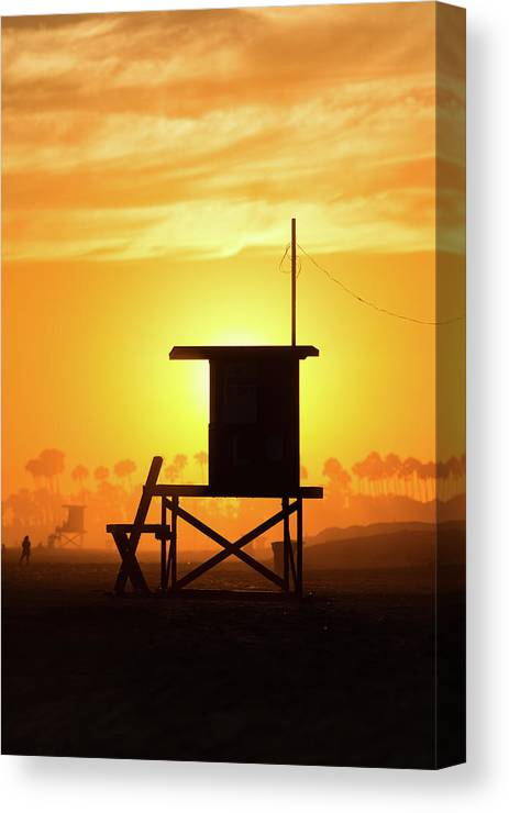 Photography Canvas Print featuring the photograph Lifeguard Tower On The Beach, Newport by Panoramic Images