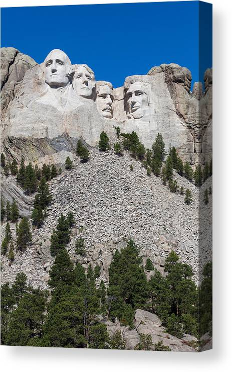 America Canvas Print featuring the photograph Mount Rushmore by Wolfgang Woerndl