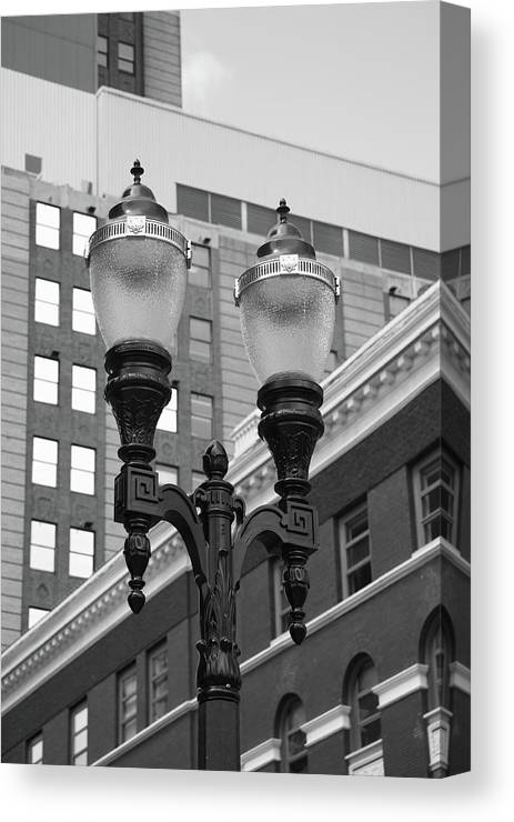Antique Canvas Print featuring the photograph Streetlights - Lansing Michigan by Frank Romeo