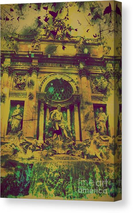Trevi Fountain Canvas Print featuring the digital art Trevi Fountain by Marina McLain