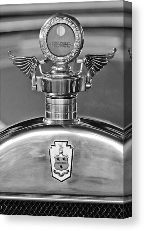 1928 Pierce-arrow Canvas Print featuring the photograph 1928 Pierce-arrow Hood Ornament 2 by Jill Reger