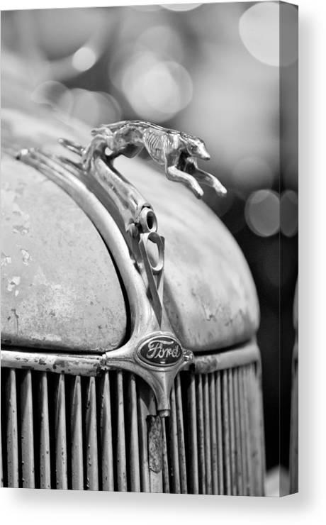 1936 Ford Cabriolet Hood Ornament Canvas Print featuring the photograph 1936 Ford Cabriolet Hood Ornament - Emblem by Jill Reger