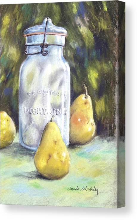 Pear Canvas Print featuring the painting Canned Pears by Claude Schneider