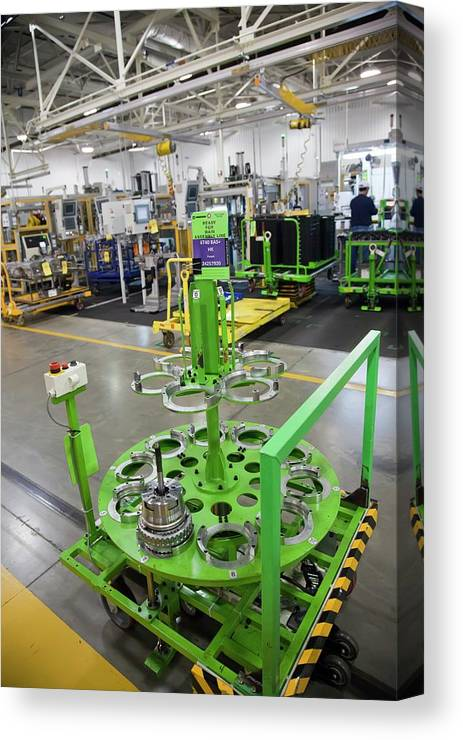 Equipment Canvas Print featuring the photograph Car Transmission Assembly Line by Jim West