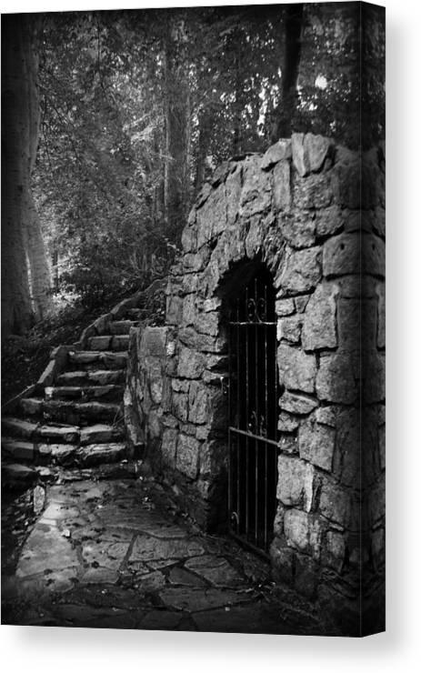 Kelly Hazel Canvas Print featuring the photograph Iron Door In A Garden by Kelly Hazel