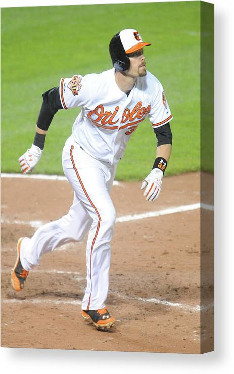Game Two Canvas Print featuring the photograph Pittsburgh Pirates V Baltimore Orioles 2 by Mitchell Layton