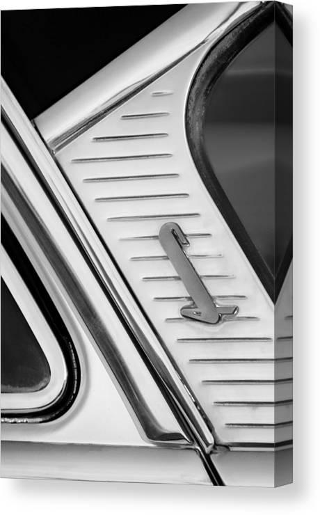 1955 Lincoln Capri Emblem Canvas Print featuring the photograph 1955 Lincoln Capri Emblem by Jill Reger