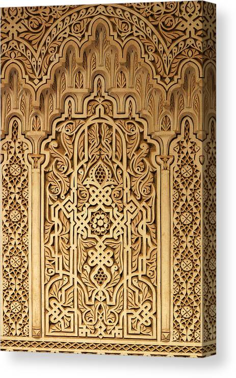 Oriental Plaster Work Canvas Print featuring the photograph Islamic Plaster Work by PIXELS XPOSED Ralph A Ledergerber Photography