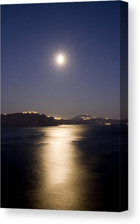 Greece Canvas Print featuring the photograph Santorini Moonlight by Ollie Taylor