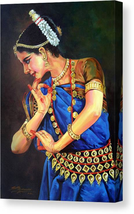 Abinayam Canvas Print featuring the painting Abinayam by Sundarakannan Srinivasan