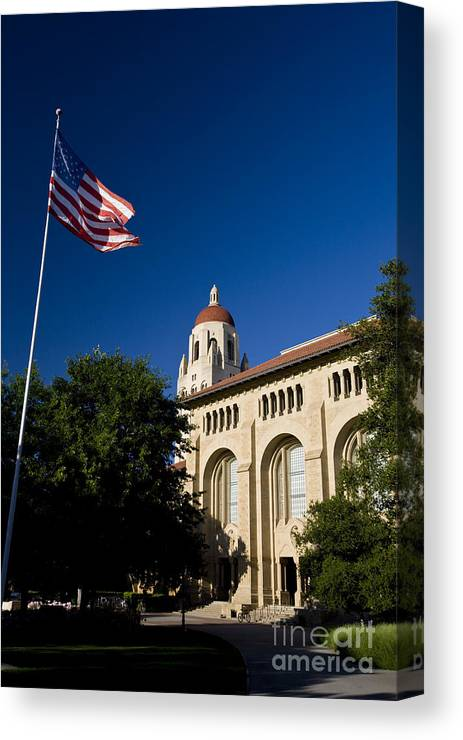 Travel Canvas Print featuring the photograph American Flag And Hoover Tower Stanford University by Jason O Watson