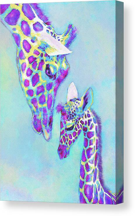 Jane Schnetlage Canvas Print featuring the digital art Aqua And Purple Loving Giraffes by Jane Schnetlage