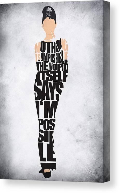 Audrey Hepburn Canvas Print featuring the digital art Audrey Hepburn Typography Poster by Inspirowl Design