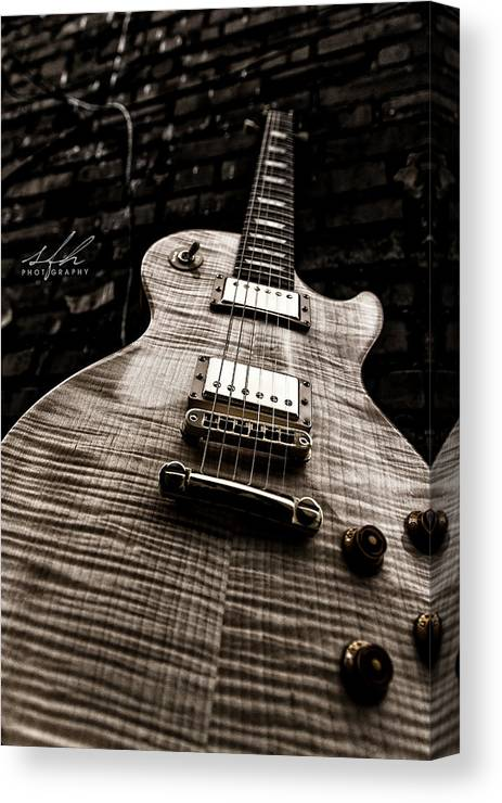 Guitar Canvas Print featuring the photograph Back Alley Blues by Allen Gresham