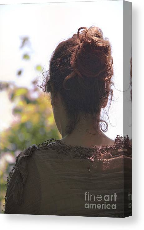 Woman; Female; Lady; Feminine; Prim; Proper; Petite; Back; Caucasian; Scarf; Dress; Pashmina; Brunette; Bun; Up Do; Curls; Beautiful; Peaceful; Lovely; Drape; Outside; Outdoors; Nature; Trees Canvas Print featuring the photograph Beauty by Margie Hurwich