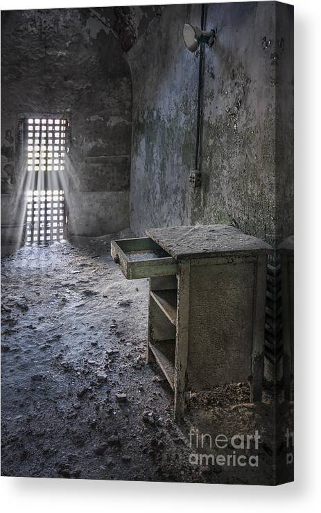 Eastern State Canvas Print featuring the photograph Behind The Bars by Evelina Kremsdorf