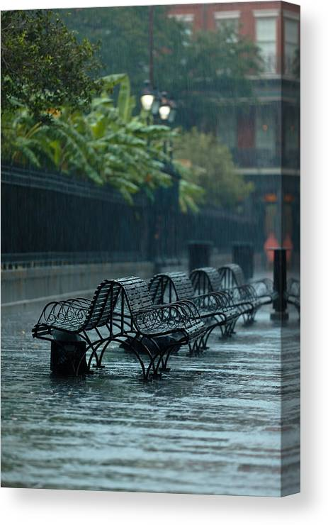 New Orleans Canvas Print featuring the photograph Benches In The Rain by Susie Hoffpauir