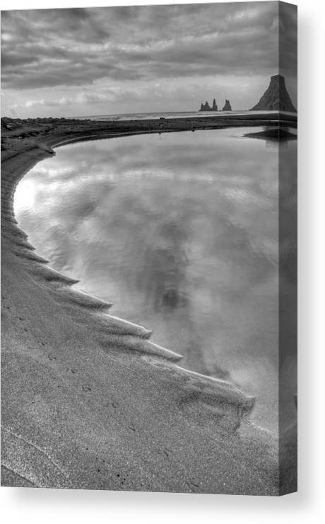Europe Canvas Print featuring the photograph Black Sand Icelandic Beach by Claudio Bacinello