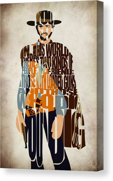 Blondie Canvas Print featuring the digital art Blondie Poster From The Good The Bad And The Ugly by Inspirowl Design