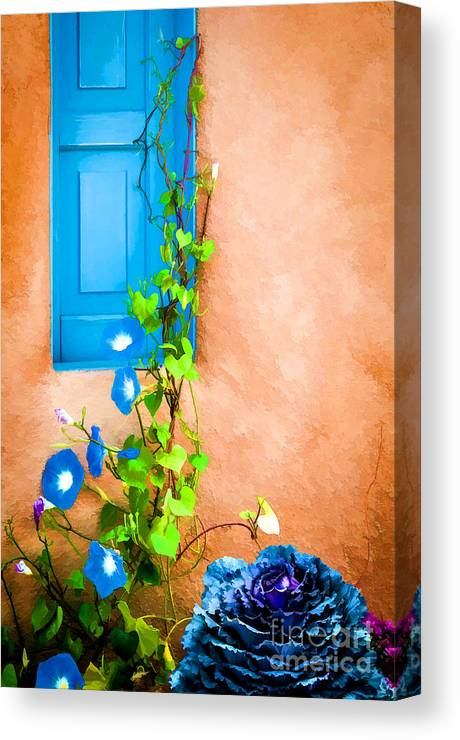 Bob And Nancy Kendrick Canvas Print featuring the photograph Blue Window - Painted by Bob and Nancy Kendrick