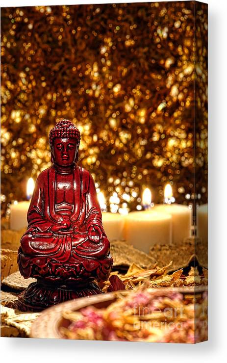 Buddha Canvas Print featuring the photograph Buddha And Candles by Olivier Le Queinec
