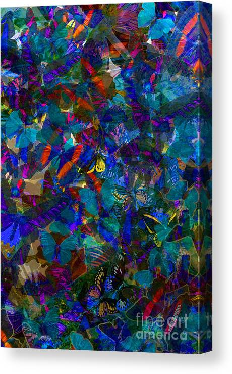Butterflys Canvas Print featuring the photograph Butterfly Collage Blue by Robert Meanor