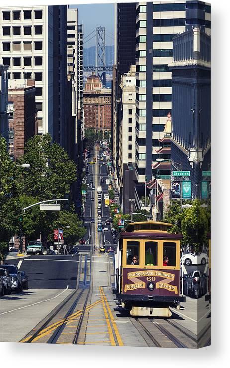 San Francisco Canvas Print featuring the photograph Cable Car by Maico Presente