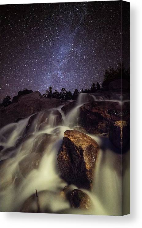 Tranquility Canvas Print featuring the photograph Capturing A Starry Night Waterfall In by Mike Berenson / Colorado Captures