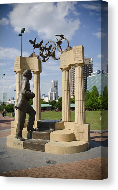 Atlanta Canvas Print featuring the photograph Centennial Olympic Park Sulpture by Jessica Berlin