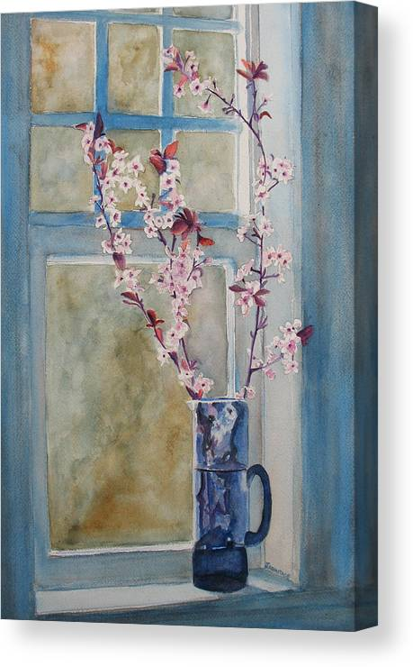 Cherry Blossoms Canvas Print featuring the painting Cherry Blossoms In A Blue Pitcher by Jenny Armitage