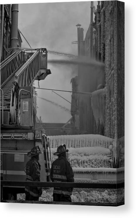 Chicago Canvas Print featuring the photograph Chicago Firemen Looking On by Sven Brogren
