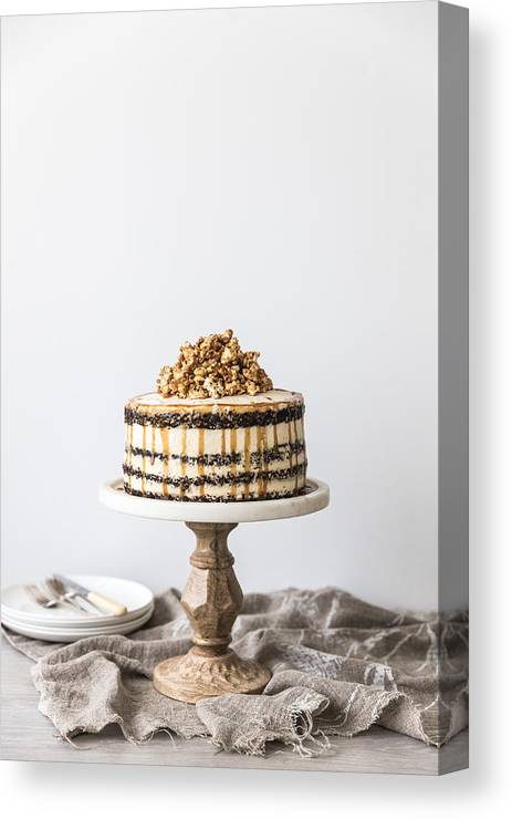 Unhealthy Eating Canvas Print Featuring The Photograph Chocolate And Caramel Buttercream Layered Birthday Cake With
